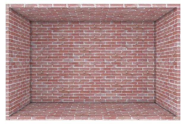 Grande boîte de mur de briques abstraites vides ouvertes sur un rendu 3d de fond blanc