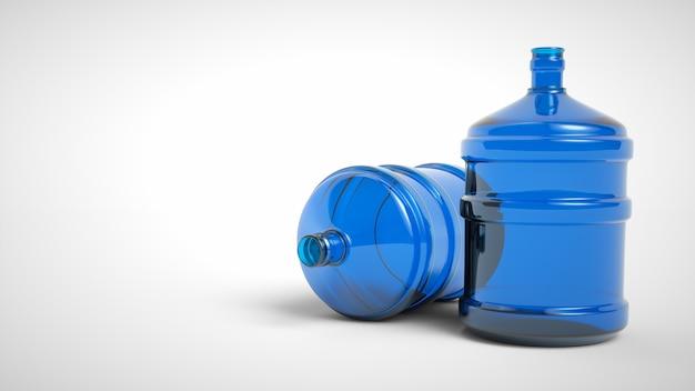 Grande bouteille d'eau potable en plastique isolé sur fond blanc. rendu 3d.