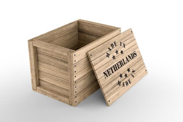 Grande caisse en bois avec texte made in netherlands sur fond blanc. rendu 3d