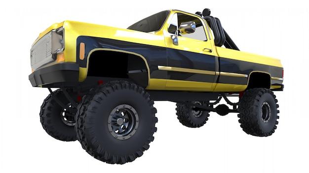 Grande camionnette hors route. entraînement complet. suspension très relevée. énormes roues avec des pointes pour les roches et la boue. illustration 3d