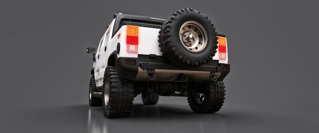 Grande camionnette tout-terrain blanche pour la campagne ou les expéditions sur fond gris isolé. illustration 3d.