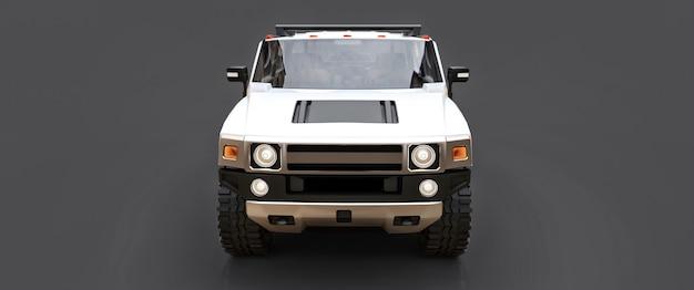 Grande camionnette tout-terrain blanche pour la campagne ou les expéditions sur fond gris isolé