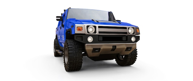 Grande camionnette tout-terrain bleue pour la campagne ou les expéditions sur fond blanc isolé. illustration 3d.
