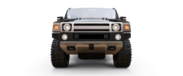 Grande camionnette tout-terrain noire pour la campagne ou les expéditions