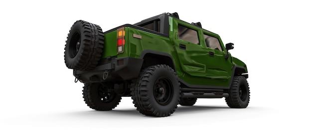 Grande camionnette tout-terrain vert pour la campagne ou des expéditions sur fond blanc isolé