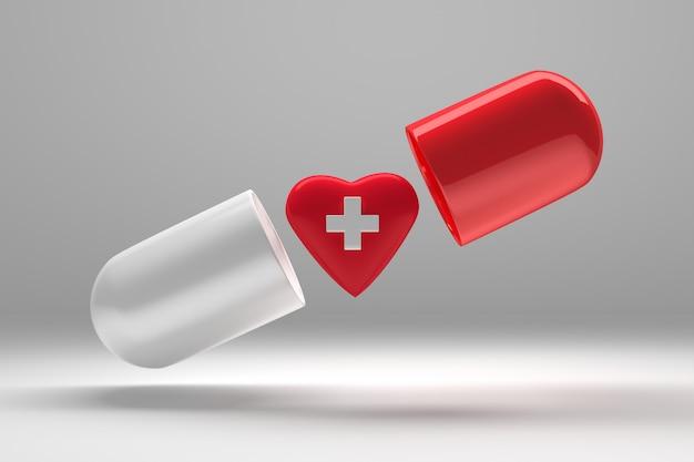 Grande capsule pilule ouverte avec des casquettes rouges et blanches volant dans les airs