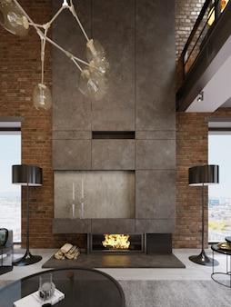 Grande cheminée haute en béton avec foyer intégré avec feu brûlant. deux lampadaires noirs. rendu 3d.