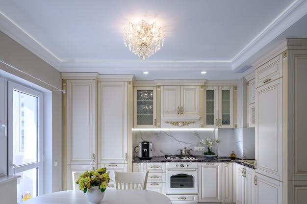 Grande cuisine et salle à manger luxueuses modernes dans un studio