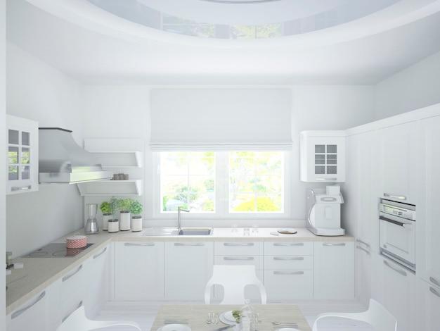 Grande fenêtre avec stores cuisine blanche