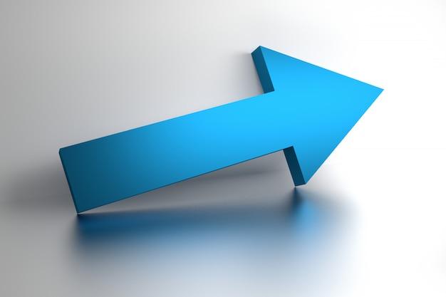 Grande flèche bleue sur une surface réfléchissante