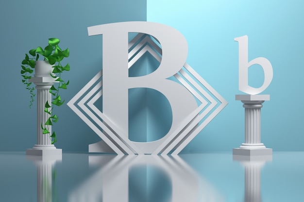 Grande lettre b en gras dans la composition avec des colonnes grecques et des plantes en pot