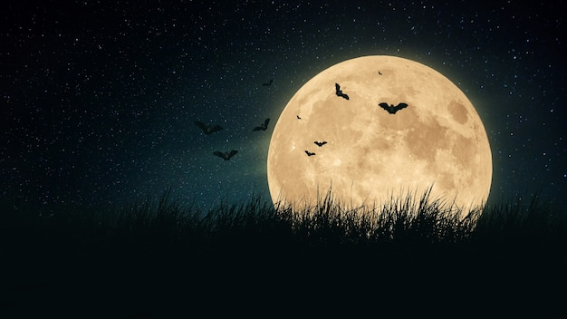 Grande lune effrayante avec des chauves-souris dans un champ d'herbe la nuit. fond d'écran halloween