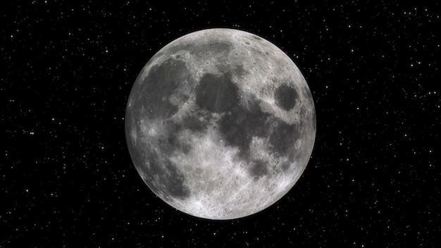 Grande lune la nuit en gros plan étoilé