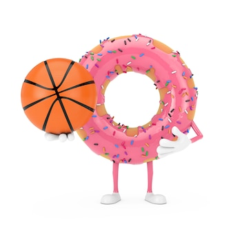 Grande mascotte de personnage de beignet glacé rose fraise avec ballon de basket-ball sur fond blanc. rendu 3d