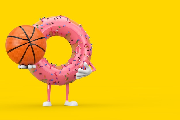 Grande mascotte de personnage de beignet glacé rose fraise avec ballon de basket-ball sur fond jaune. rendu 3d
