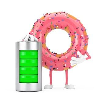 Grande mascotte de personnage de beignet glacé rose fraise avec batterie de charge abstraite sur fond blanc. rendu 3d