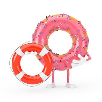 Grande mascotte de personnage de beignet glacé rose fraise avec bouée de sauvetage sur fond blanc. rendu 3d