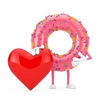 Grande mascotte de personnage de beignet glacé rose fraise avec coeur rouge sur fond blanc. rendu 3d