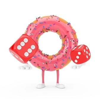 Grande mascotte de personnage de beignet glacé rose fraise avec des cubes de dés de jeu rouges en vol sur fond blanc. rendu 3d