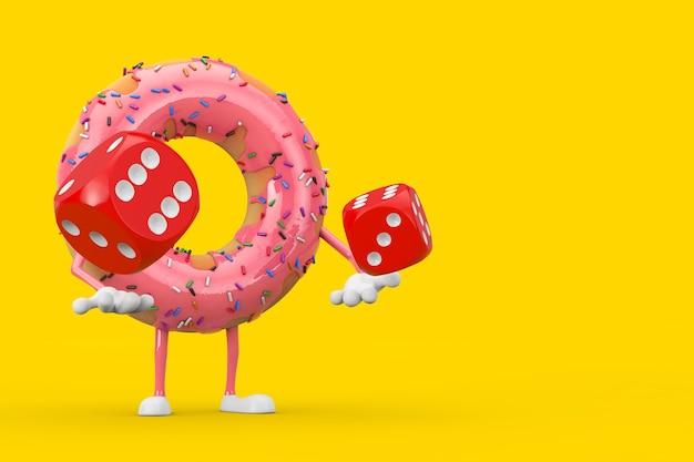 Grande mascotte de personnage de beignet glacé rose fraise avec des cubes de dés de jeu rouges en vol sur fond jaune. rendu 3d