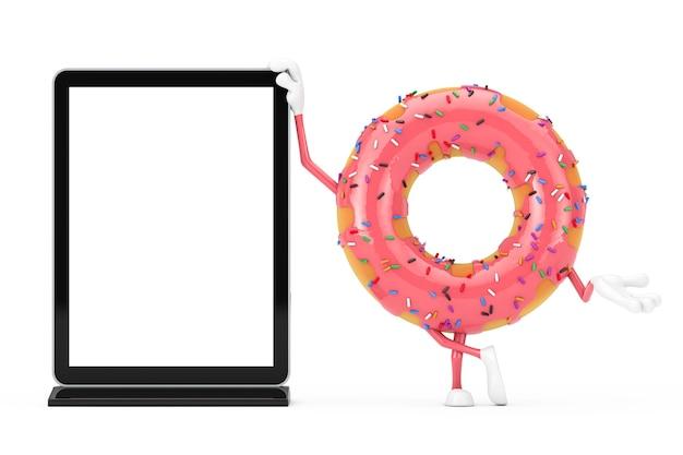 Grande mascotte de personnage de beignet glacé rose fraise avec écran lcd de salon commercial vierge comme modèle pour votre conception sur fond blanc. rendu 3d