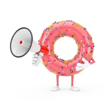 Grande mascotte de personnage de beignet glacé rose fraise avec mégaphone rétro rouge sur fond blanc. rendu 3d
