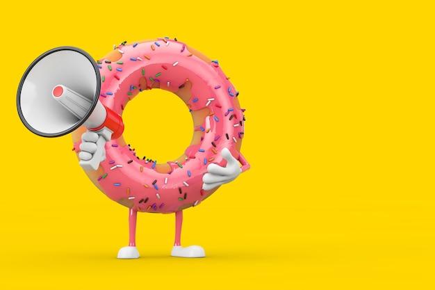 Grande mascotte de personnage de beignet glacé rose fraise avec mégaphone rétro rouge sur fond jaune. rendu 3d
