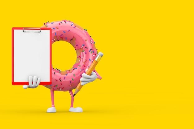 Grande mascotte de personnage de beignet glacé rose fraise avec presse-papiers en plastique rouge, papier et crayon sur fond jaune. rendu 3d