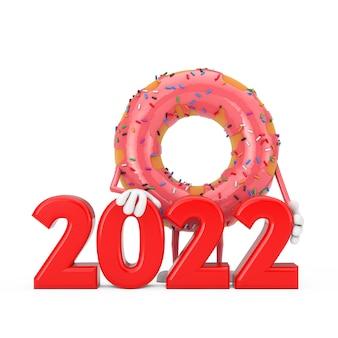Grande mascotte de personnage de beignet glacé rose fraise avec signe de nouvel an rouge 2022 sur fond blanc. rendu 3d
