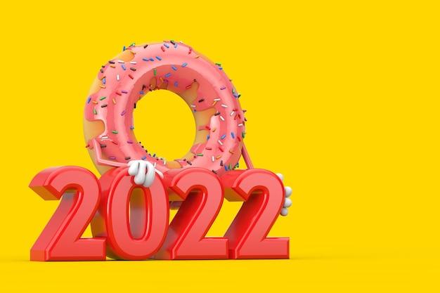 Grande mascotte de personnage de beignet glacé rose fraise avec signe de nouvel an rouge 2022 sur fond jaune. rendu 3d