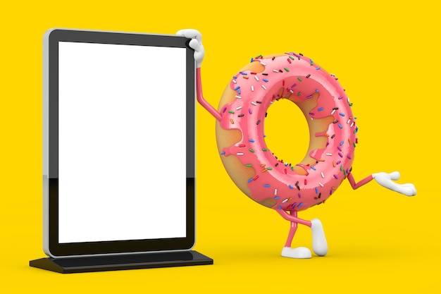 Grande mascotte de personnage de beignet glacé rose fraise avec support d'écran lcd de salon commercial vierge comme modèle pour votre conception sur fond jaune. rendu 3d