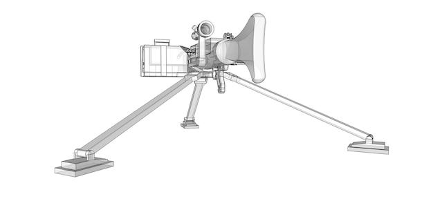 Grande mitrailleuse sur un trépied avec une cartouche pleine de munitions sur fond blanc. illustration schématique d'armes en lignes de contour avec un corps translucide. illustration 3d.