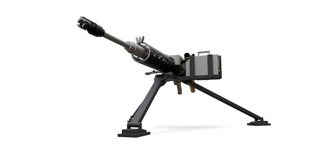 Grande mitrailleuse sur un trépied avec une cassette pleine de munitions sur fond blanc. illustration 3d.