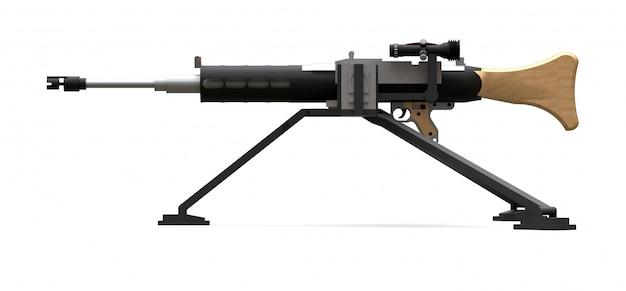 Grande mitrailleuse sur un trépied avec des munitions à cassette pleine