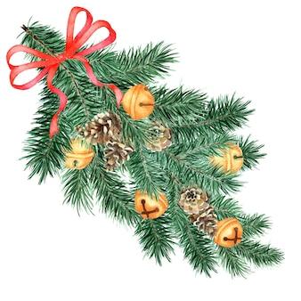 Une grande et moelleuse branche d'épinette, de pin avec des décorations et un ruban.
