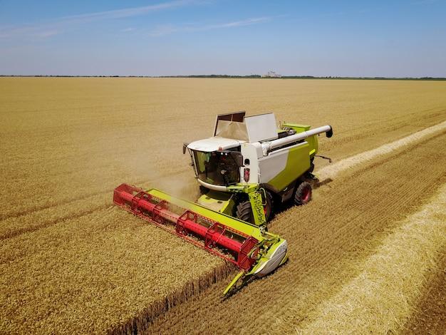 Grande moissonneuse-batteuse professionnelle travaillant dans le champ de blé.