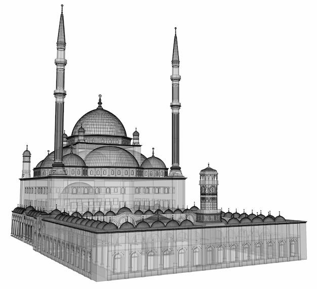 Une grande mosquée musulmane, une illustration matricielle en trois dimensions avec des lignes de contour mettant en évidence les détails de la construction. le bâtiment a des murs transparents. rendu 3d.