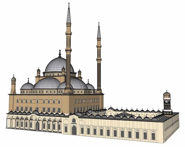 Une grande mosquée musulmane, une illustration matricielle en trois dimensions avec des lignes de contour mettant en évidence les détails de la construction. rendu 3d.