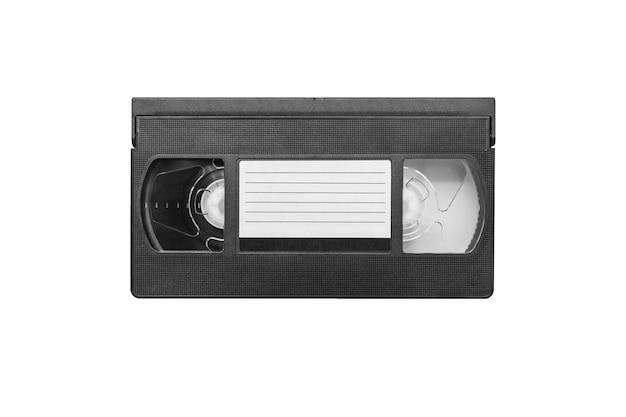 Grande photo d'une vieille cassette vidéo sur fond blanc