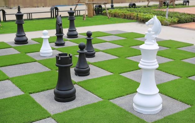 Grande pièce d'échecs décorative dans le jardin