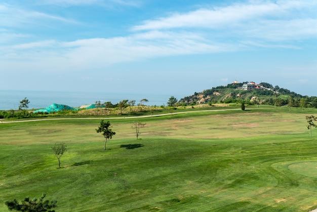Une grande prairie sur un terrain de golf, qingdao, chine