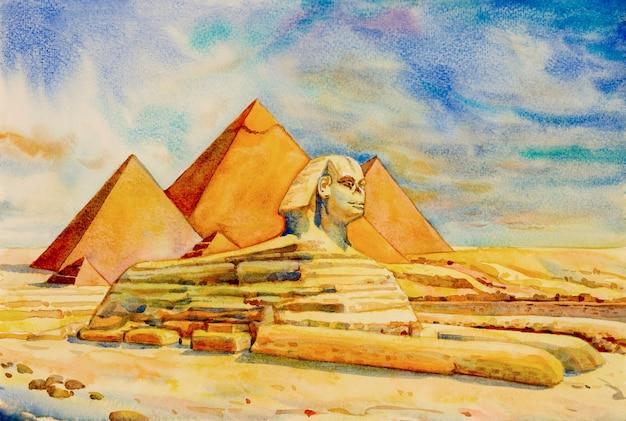 La grande pyramide avec désert à gizeh, egypte.