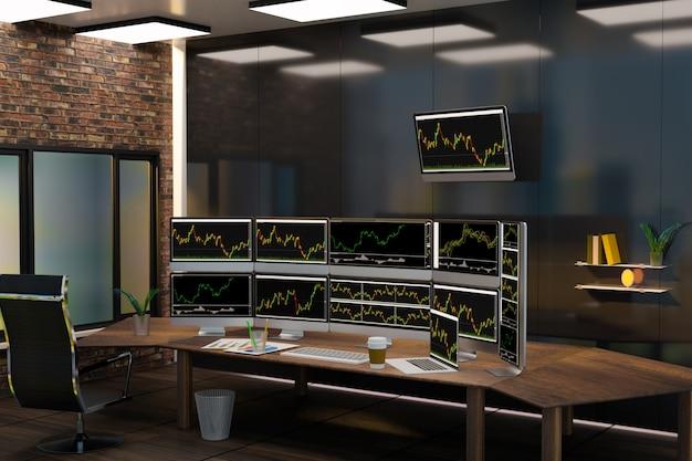 Grande salle des marchés et lieu de travail des hommes d'affaires