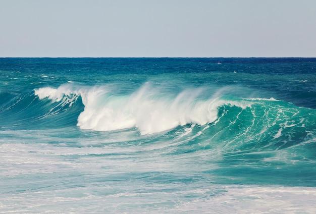 Grande vague aigue-marine se bouchent