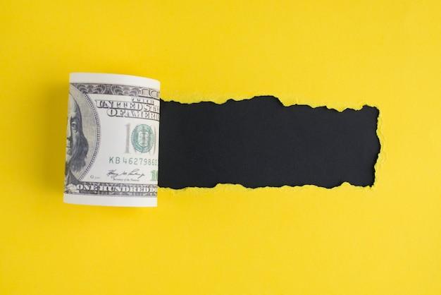 Grande vente sur le concept du vendredi blask. top flat jeter les frais généraux vue rapprochée photo de 100 dollars et un espace noir pour le texte