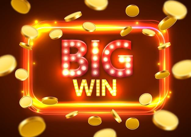 Grande victoire. bannière rétro brillante avec des pièces volantes. concept de casino.