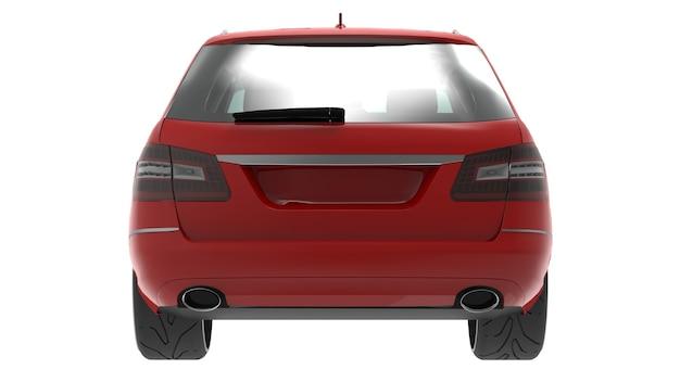 Grande voiture familiale rouge avec une conduite sportive et en même temps confortable. rendu 3d.