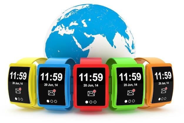 Grandes montres intelligentes multicolores conceptuelles avec earth globe sur fond blanc