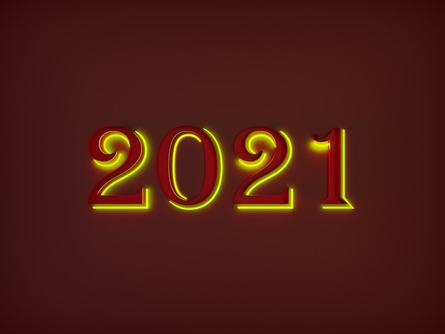 De grands numéros rouges de bonne année se détachent de l'arrière-plan avec un néon jaune autour d'eux