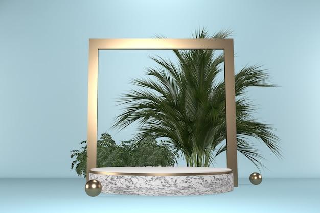 Granit tropical cyan podium géométrique et décoration de plantes sur fond noir rendu .3d